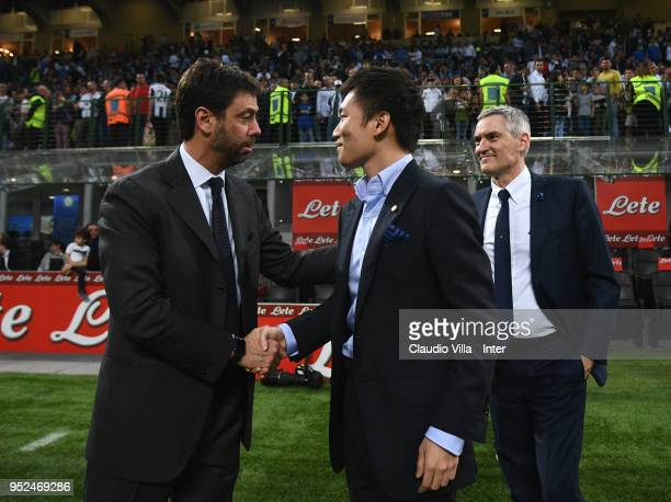 President of Juventus Andrea Agnelli shakes hands with FC Internazionale board member Steven Zhang before during the serie A match between FC...