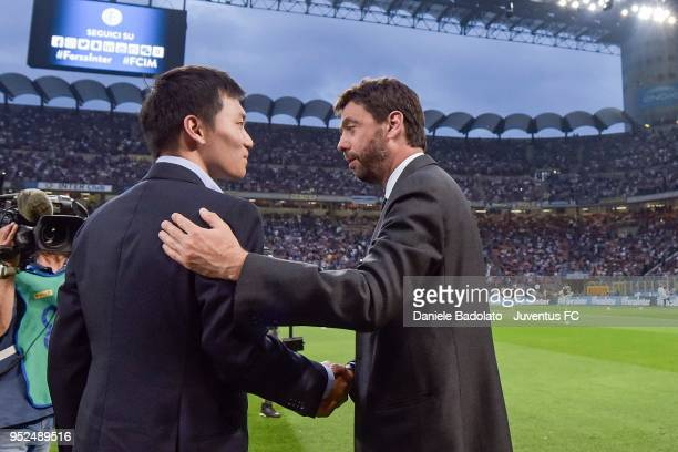 President of Juventus Andrea Agnelli shakes hands with FC Internazionale board member Steven Zhang before the serie A match between FC Internazionale...