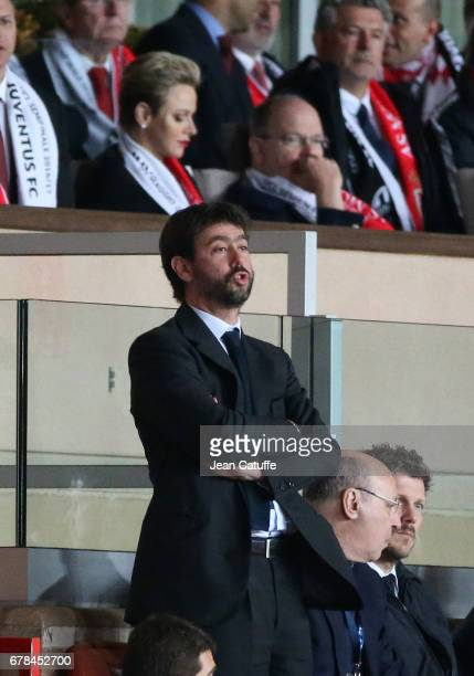 President of Juventus Andrea Agnelli with above him Princess Charlene of Monaco and Prince Albert II of Monaco attend the UEFA Champions League semi...