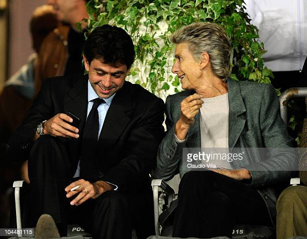 President of Juventus FC Andrea Agnelli and Marella Agnelli during the Serie A match between Juventus and Cagliari at Olimpico Stadium on September...