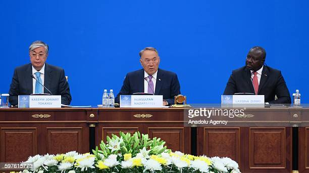 President of Kazakhstan Nursultan Nazarbayev delivers a speech during the Building a NuclearWeaponFree World International Conference within the 25th...