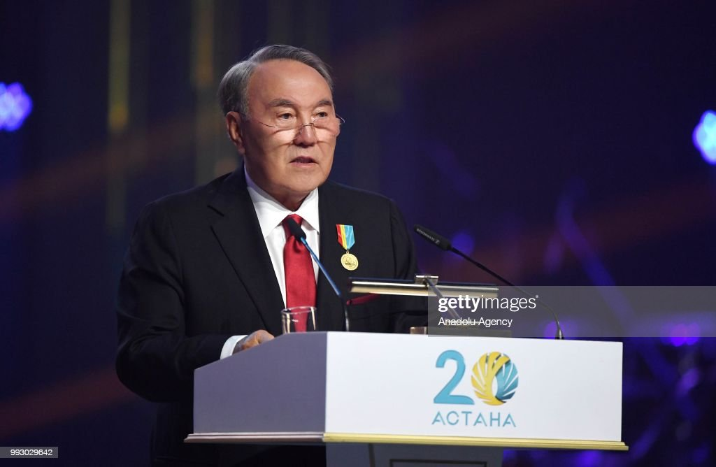 President of Kazakhstan, Nursultan Nazarbayev makes a speech during an event within the celebrations of 20th anniversary of the capital of Astana in Astana, Kazakhstan on July 06, 2018.
