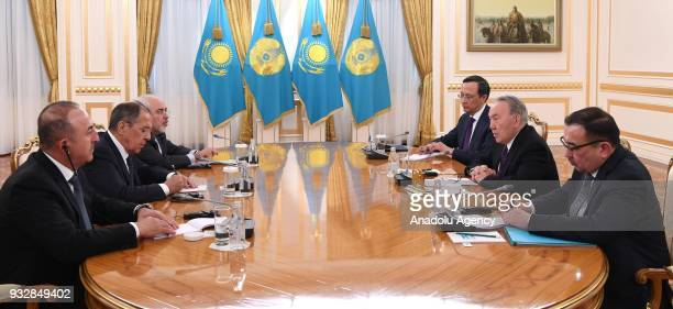 President of Kazakhstan Nursultan Nazarbayev receives Minister of Foreign Affairs of Turkey Mevlut Cavusoglu Russian Foreign Minister Sergei Lavrov...