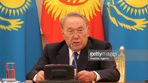 President of Kazakhstan Nursultan Nazarbayev speaks during a joint press conference held with President of Kazakhstan Sooronbay Jeenbekov following a...