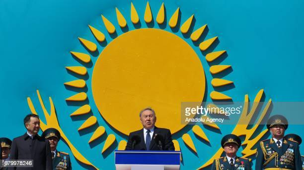 President of Kazakhstan Nursultan Nazarbayev speaks during the 25th Foundation Anniversary of the Kazakhstan Armed Forces called Defender of the...