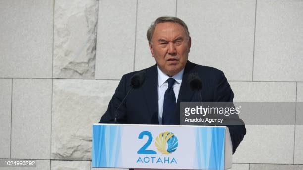 President of Kazakhstan Nursultan Nazarbayev speaks during the opening ceremony of Wall of Peace inspired by the closure of the Semipalatinsk nuclear...