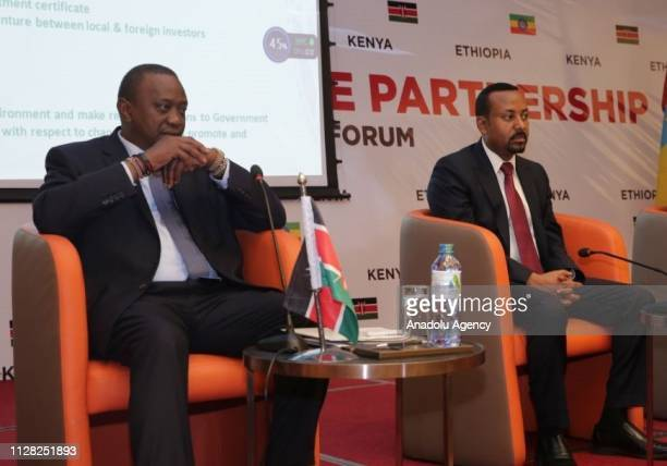 President of Kenya Uhuru Kenyatta and Ethiopian Prime Minister Abiy Ahmed attend the Kenya Ethiopia Trade and Investment Forum in Addis Ababa...