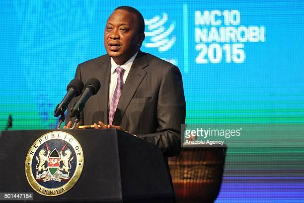 President of Kenya Uhuru Kenyatta delivers a speech during the World Trade Organization's 10th Ministerial Conference at Kenyatta International...