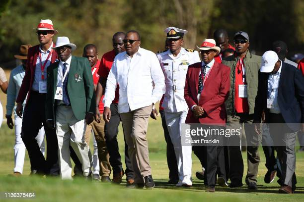 President of Kenya Uhuru Kenyatta is seen during Day Four of the Magical Kenya Open presented by Absa at the Karen Country Club on March 17 2019 in...