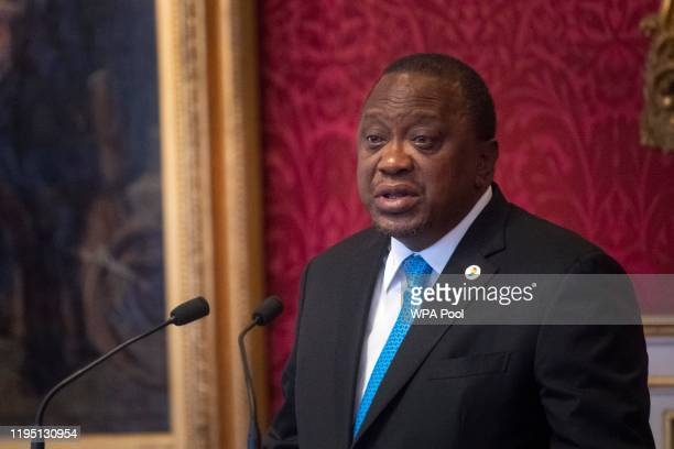 President of Kenya Uhuru Kenyatta makes a speech during the meeting of the United for Wildlife Taskforces at St James Palace on January 21 2020 in...