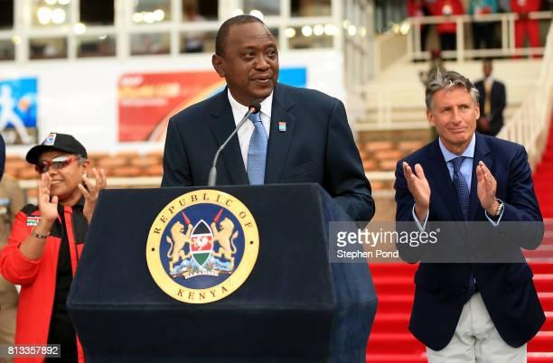 President of Kenya Uhuru Kenyatta speaks during the opening ceremony on day one of the IAAF U18 World Championships at the Kasarani Stadium on July...