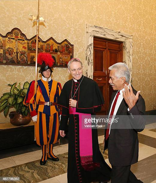 President of Kiribati Anote Tong flanked by Prefect of the Pontifical House and former personal secretary of Pope Benedict XVI Georg Ganswein arrives...
