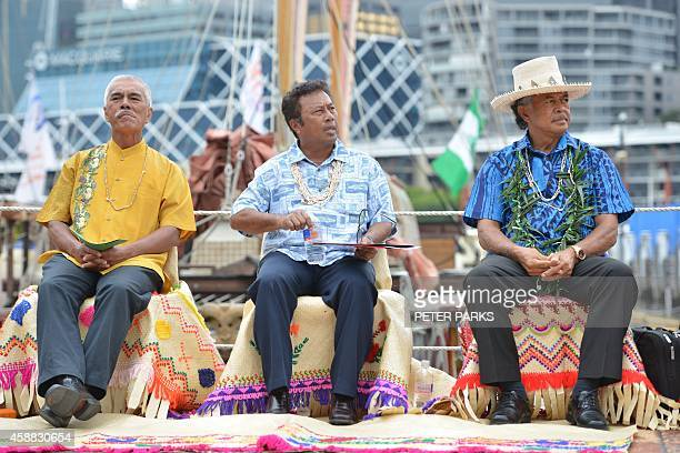 President of Kiribati Anote Tong President of Palua Tommy Remengesau and Henry Puna Prime Minister of the Cook Islands take part in an arrival...