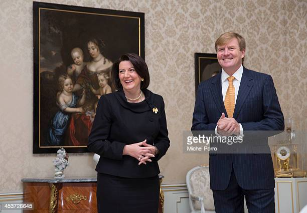 President of Kosovo Atifete Jahjaga and King WillemAlexander of The Netherlands meet at the Huis ten Bosch royal palace on December 5 2013 in The...