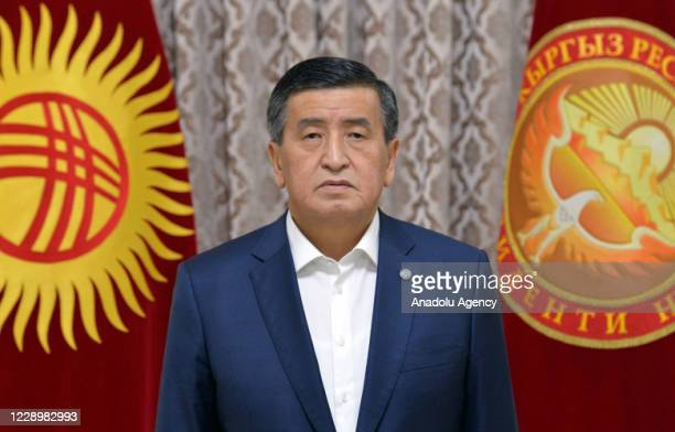 President of Kyrgyzstan Sooronbay Jeenbekov addresses to the nation as he declares a state of emergency in the capital Bishkek following election...