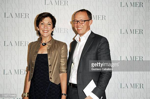 President of La Mer Maureen Case and Dominic DeVetta attend the Le Mer Celebrates Liquid Light By Fabien Baron at The Glass Houses on September 10...