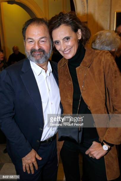 President of Lagardere Active and CEO of 'Europe 1' Denis Olivennes and Ines de La Fressange attend La vraie vie Theater Play at Theatre Edouard VII...