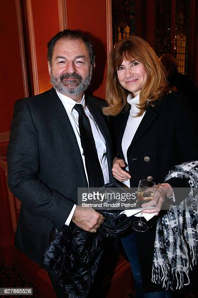 President of Lagardere Active and President of 'Europe 1' Denis Olivennes and actress Florence Pernel attend Franck Ferrand performs in his Show...