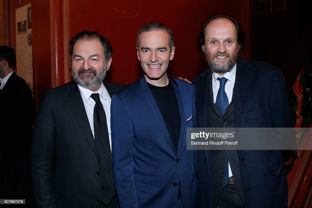 President of Lagardere Active and President of 'Europe 1', Denis Olivennes, Franck Ferrand and Co-owner of the Theater Jean-Marc Dumontet pose after Franck Ferrand performed in his Show 'Histoires' at Theatre Antoine on December 5, 2016 in Paris, France.