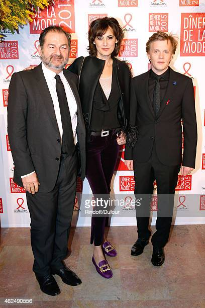 President of Lagardere Active Denis Olivennes Ines de la Fressange and Humorist Alex Lutz attend the Sidaction Gala Dinner 2015 at Pavillon...