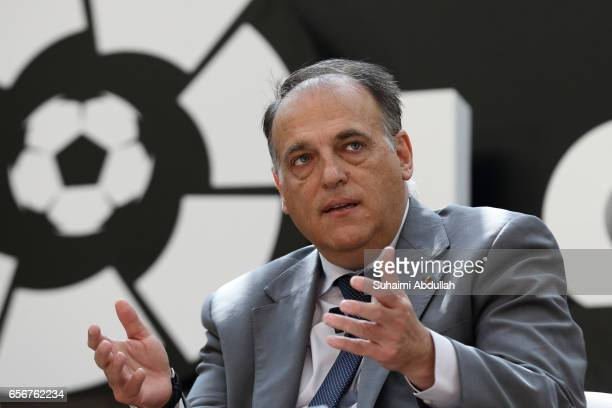 President of LaLiga Javier Tebas speaks during the launch of LaLiga at the Supreme Court Terrace National Gallery Singapore on March 23 2017 in...