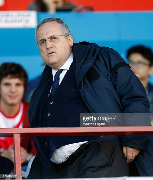 President of Lazio Claudio Lotito during the Serie A match between Calcio Catania and SS Lazio at Stadio Angelo Massimino on February 16 2014 in...