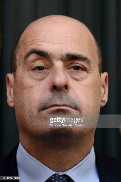 President of Lazio Region Nicola Zingaretti at the end of the Ceremony of commemoration in memory of the Roman Jews who were unjustly deprived of...