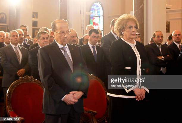 President of Lebanon Michel Aoun and his wife Nadia Al Chami attend a service for Saint Maroun Day at the Maronite Church in Beirut Lebanon on...