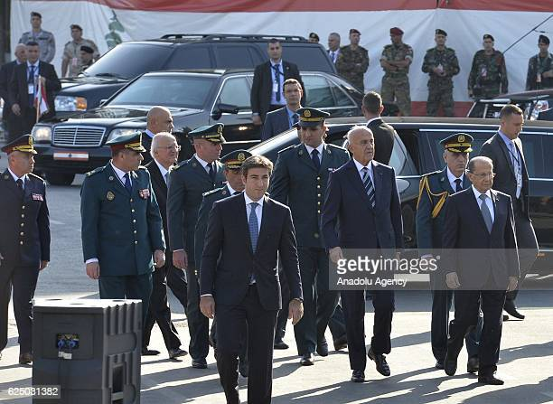 President of Lebanon Michel Aoun arrives to attend the 73rd Lebanese Independence Day ceremonies commemorating the liberation from the French Mandate...