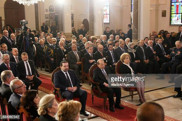 President of Lebanon Michel Aoun his wife Nadia Al Chami and Lebanese Prime Minister Saad Hariri attend a service for Saint Maroun Day at the...