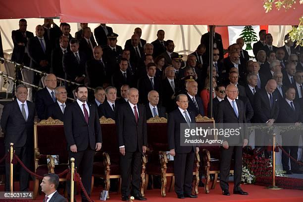 President of Lebanon Michel Aoun new Prime Minister of Lebanon Saad Hariri caretaker Prime Minister of Lebanon Tammam Salam and Speaker of the...