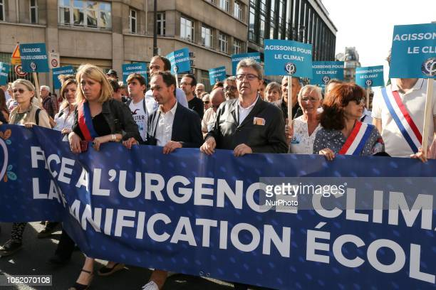 President of leftwing party quotLa France insoumisequot JeanLuc Melenchon takes part in march against climate change in Paris on October 13 2018