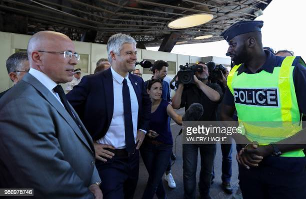 President of Les Republicains rightwing party Laurent Wauquiez and LR member of parliament and President of the AlpesMaritimes departmental council...