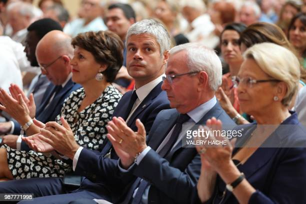 President of Les Republicains rightwing party Laurent Wauquiez vicepresident of LR party Jean Leonetti LR member of parliament President of the...