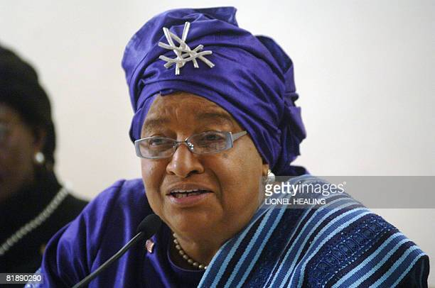 President of Liberia Ellen Johnson Sirleaf answers questions at a press conference on July 10 2008 in Johannesburg Ellen Johnson Sirleaf has called...