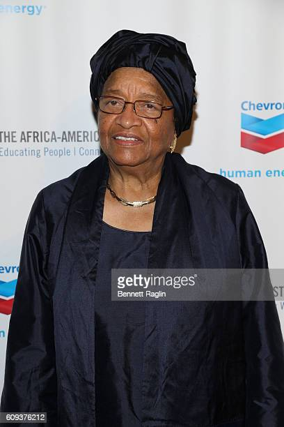 President of Liberia Ellen Johnson Sirleaf attends the AfricaAmerica Institute's 2016 Annual Awards Gala at Cipriani 25 Broadway on September 20 2016...