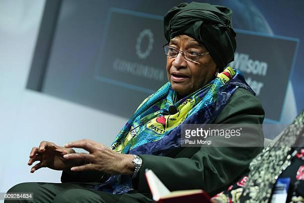 President of Liberia Ellen Johnson Sirleaf speaks at the 2016 Concordia Summit Day 2 at Grand Hyatt New York on September 20 2016 in New York City