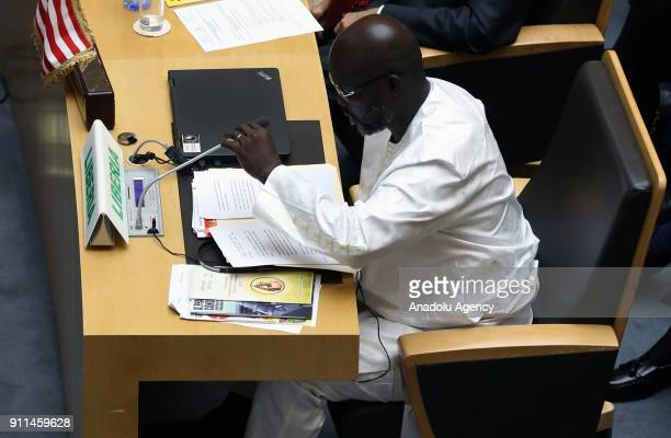 President of Liberia George Weah speaks during the 30th African Union Heads of State and Government Summit in Addis Ababa Ethiopia on January 28 2018