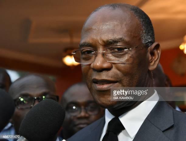 President of Liberté et démocratie pour la République party Mamadou Koulibaly answers journalists' questions on March 18 2015 in Abidjan after a...