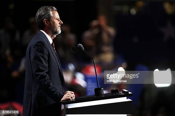 President of Liberty University Jerry Falwell Jr delivers a speech during the evening session on the fourth day of the Republican National Convention...