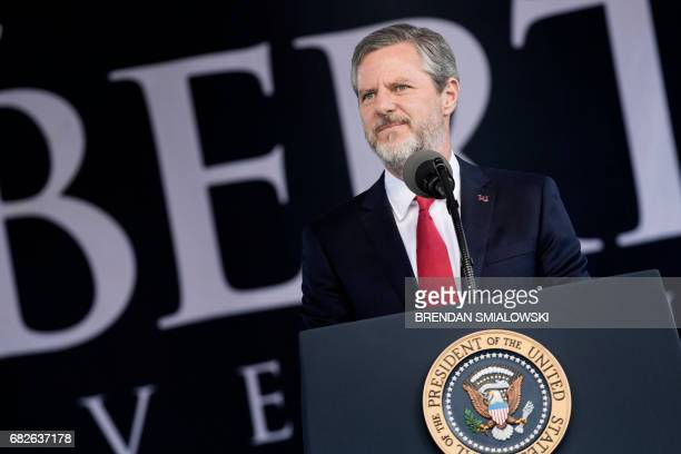 President of Liberty University Jerry Falwell Jr speaks during Liberty University's commencement ceremony May 13 2017 in Lynchburg Virginia / AFP...
