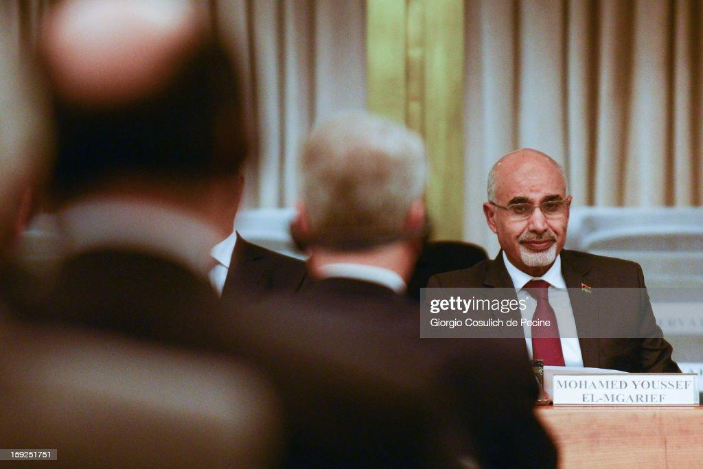 Mohamed Yousef El-Magariaf State Visit To Italy