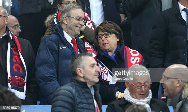 President of Lille Michel Seydoux and Mayor of Lille Martine Aubry attend the French League Cup final between Paris SaintGermain and Lille OSC at...