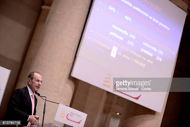 President of LILT Francesco Schittulli attends The Italian League for the Fight against Cancer presentation of LILT for Women campaign Pink Ribbon...