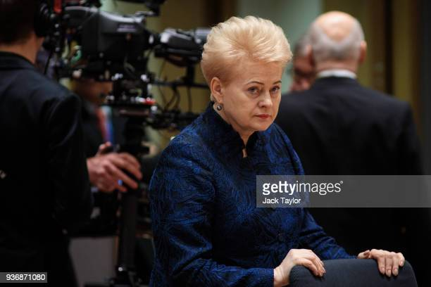 President of Lithuania Dalia Grybauskaite arrives ahead of roundtable discussions in the Europa Building on the final day of the European Council...