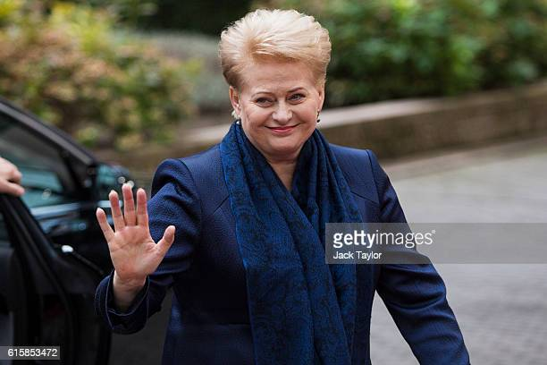 President of Lithuania Dalia Grybauskaite arrives at the Council of the European Union on the first day of a two day summit on October 20 2016 in...