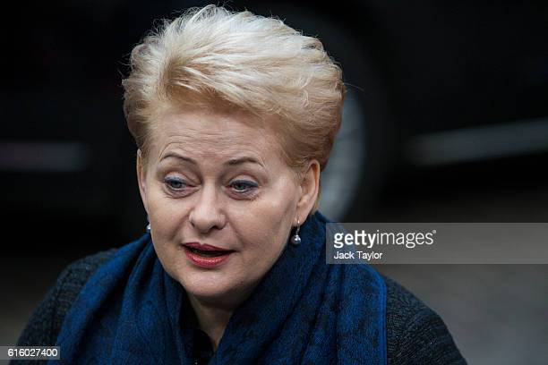 President of Lithuania Dalia Grybauskaite arrives at the Council of the European Union on the second day of a two day summit on October 21 2016 in...