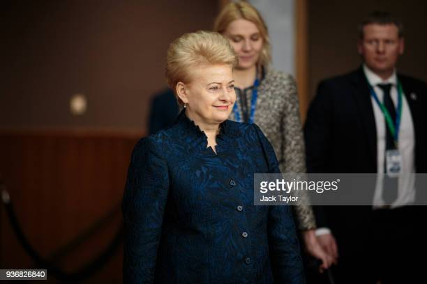 President of Lithuania, Dalia Grybauskaite arrives at the Council of the European Union on the final day of the European Council leaders' summit on...