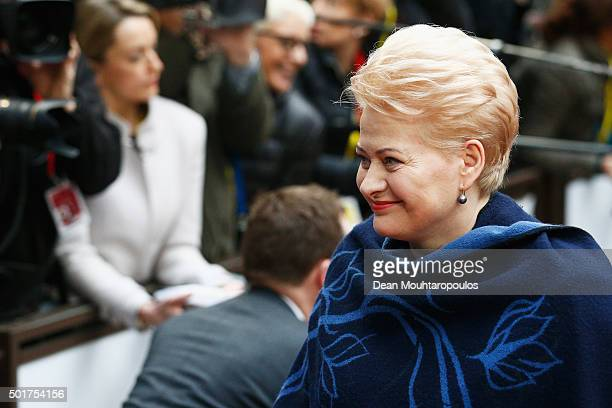 President of Lithuania, Dalia Grybauskaite arrives for The European Council Meeting In Brussels held at the Justus Lipsius Building on December 17,...