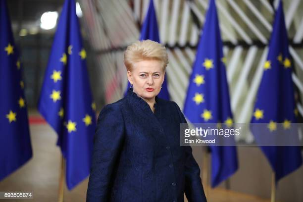 President of Lithuania Dalia Grybauskaite arrives for the European Union leaders summit at the European Council on December 14, 2017 in Brussels,...
